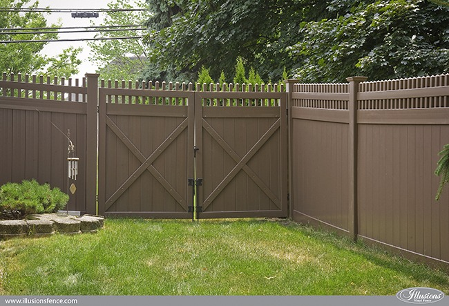 Brown vinyl privacy fence Beautiful Vinyl Brown Pvc Vinyl Privacy Gates From Illusions Vinyl Fence Illusions Vinyl Fence Looking For Brown Pvc Vinyl Privacy Fence Illusions Vinyl Fence