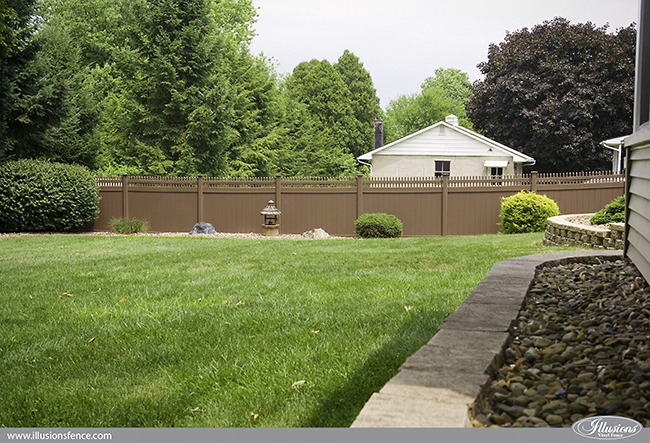 Brown PVC Vinyl Privacy Fence from Illusions Vinyl Fence