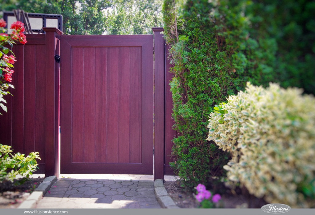 awesome vinyl pvc wood fence gate illusions mahogany
