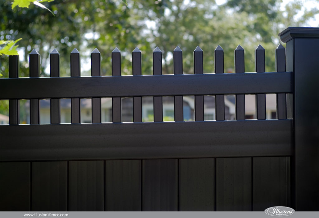 Looking for black PVC vinyl fence  V300 6 Illusions Vinyl Tongue and Groove  Privacy. Images of Illusions PVC Vinyl Wood Grain and Color Fence