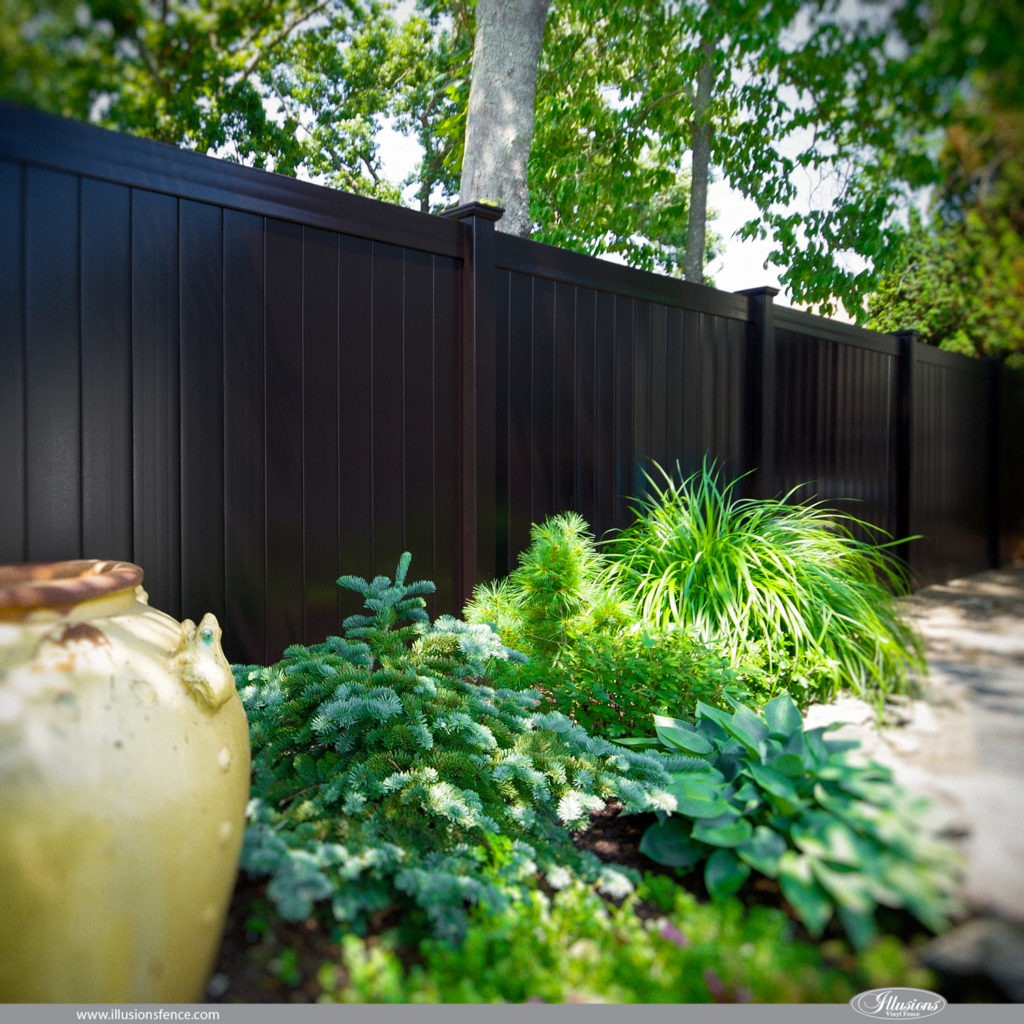 Looking for black PVC fence? V300-6 Illusions Vinyl Tongue and Groove Privacy Fence shown in the Grand Illusions Color Spectrum Black (L105). #fenceideas #homeideas #yardideas