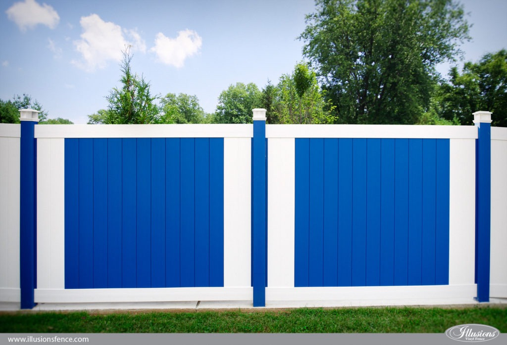 Looking for a blue and white PVC vinyl fence? Illusions Vinyl Fence has your match. Shown here is the V300-6 Tongue and Groove Privacy vinyl fence panels shown in Patio White (L101) and Dark Royal Blue (E124). With 35 colors and 5 authentic woodgrains of vinyl pvc fence, nobody beats Illusions Vinyl Fence. The best fence in the fencing industry. #fenceideas #homeideas #yardideas