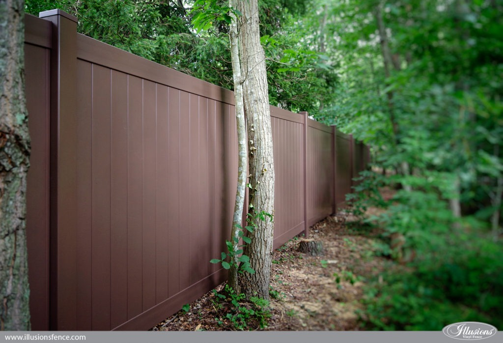 Looking for brown PVC vinyl fence? V300-6L106 Illusions Vinyl Tongue and Groove Privacy Fence shown in the Grand Illusions Color Spectrum Brown (L106). Blend your fence into the background. Looks like painted matte finish wood fence without the maintenance. #fenceideas #homeideas #yardideas