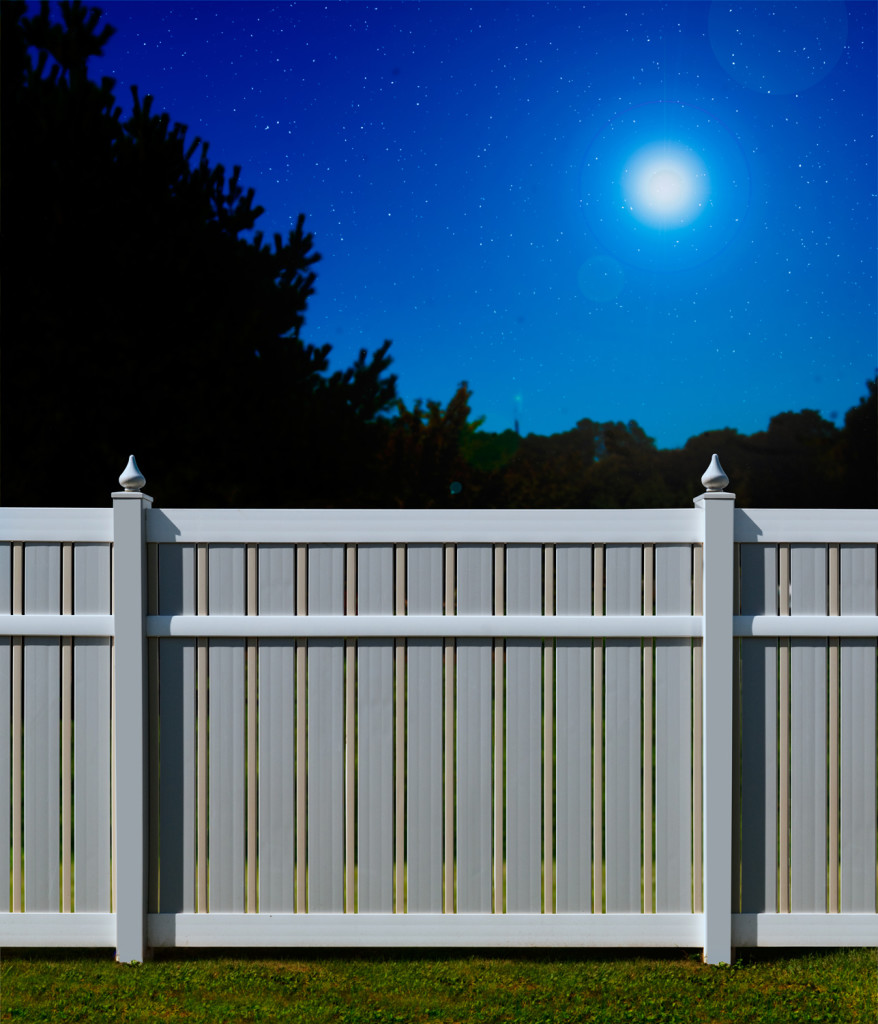 "V500A-6 Semi-Privacy PVC Fence with alternating 1-1/2"" and 6"" wide boards, and Tear Drop post caps. 1-1/2"" boards are in Illusions Classic Series Beige (C102), 6"" boards, posts and post caps in Classic Series Gray (C103) and rails in Classic Series White (C101)"