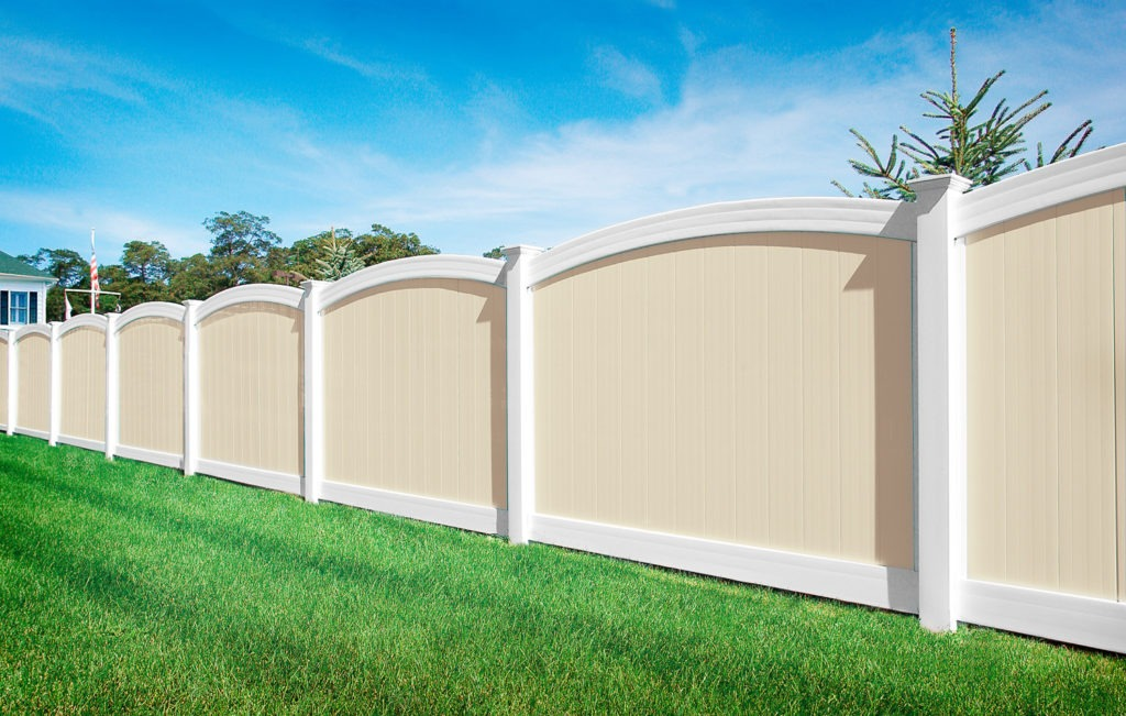 illuiont beige white curved vinyl pvc privacy fence