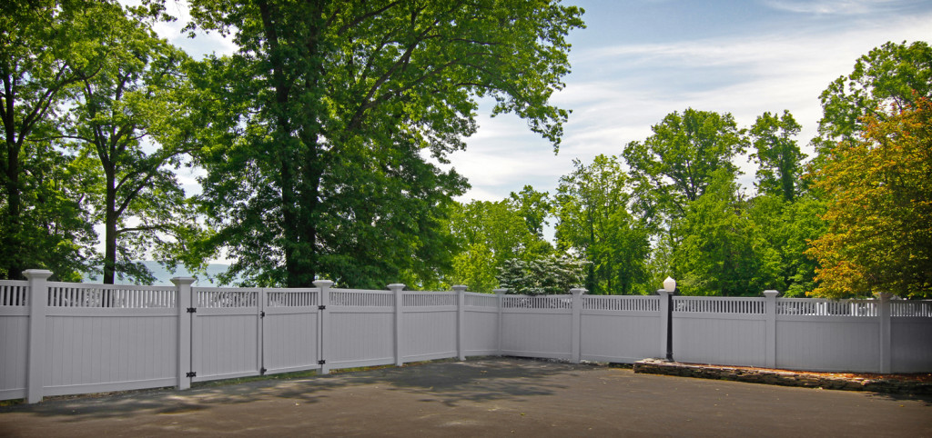illusinos gray pvc vinyl fence 8x8 inch posts panels