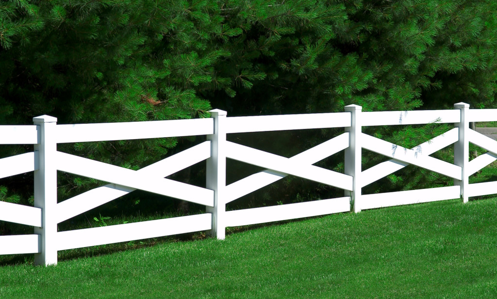 illusion crossbuck post and rail pvc vinyl fence 2
