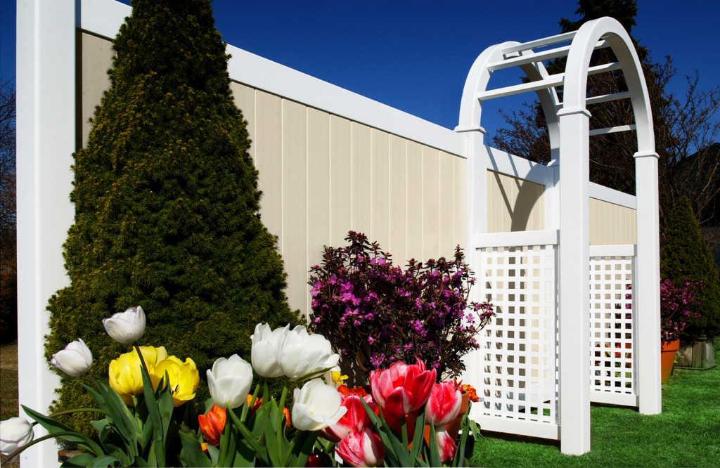 illusions beige and white privacy pvc vinyl fence