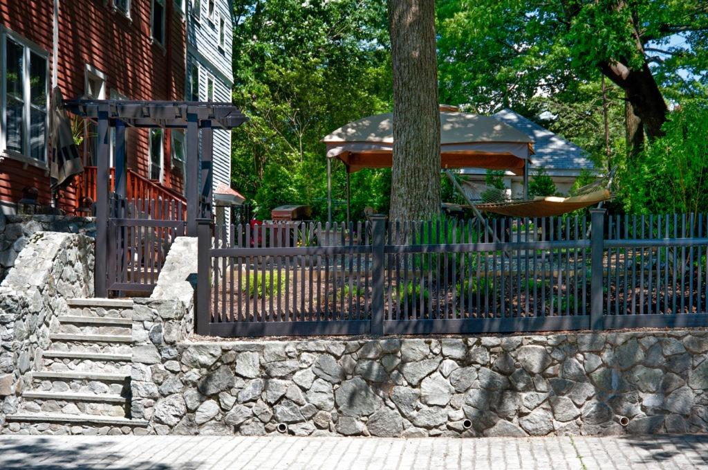 illusions black picket pvc vinyl fence and pergola
