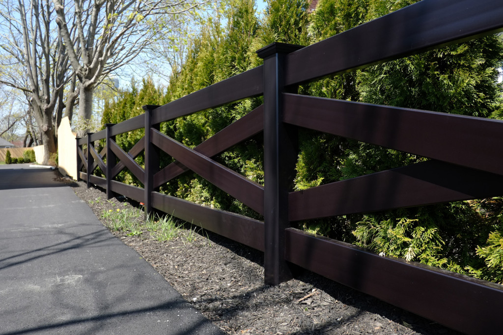 illusions black pvc vinyl crossbuck post and rail fence