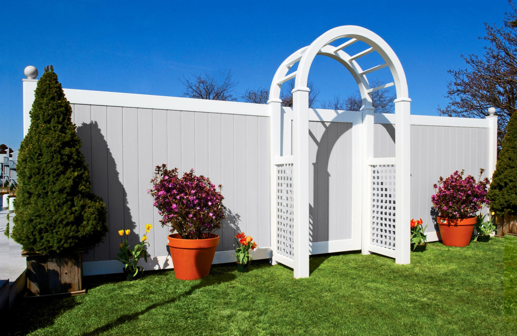 illusions gray and white privacy pvc vinyl fence 2
