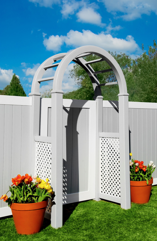 illusions gray and white pvc vinyl fence arbor and panels