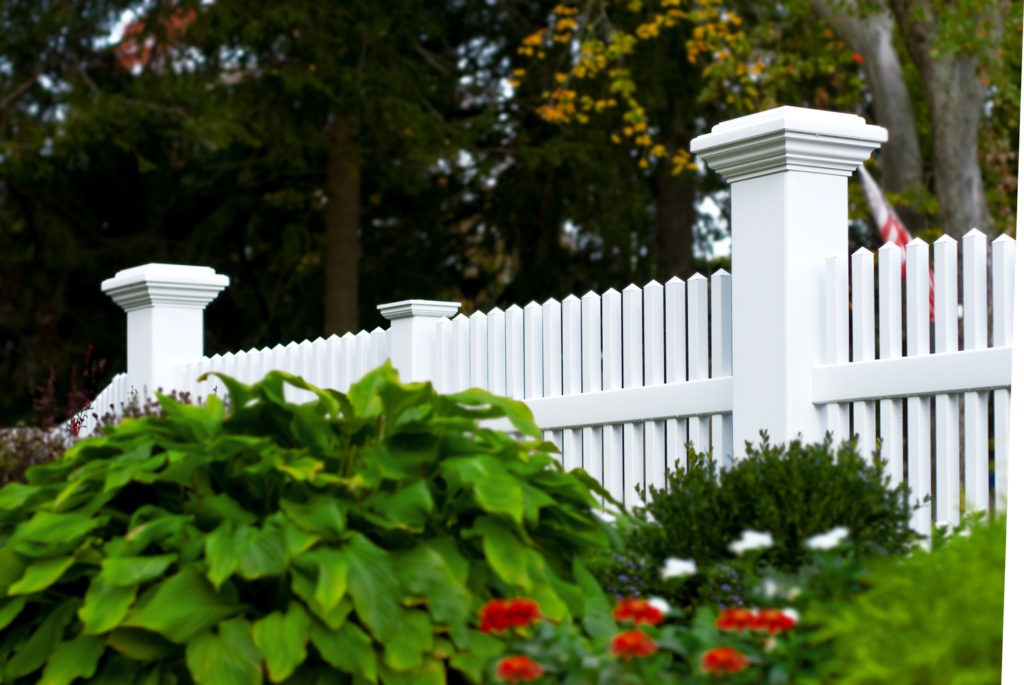 illusions pvc vinyl 8x8 inch posts and white picket fence panels