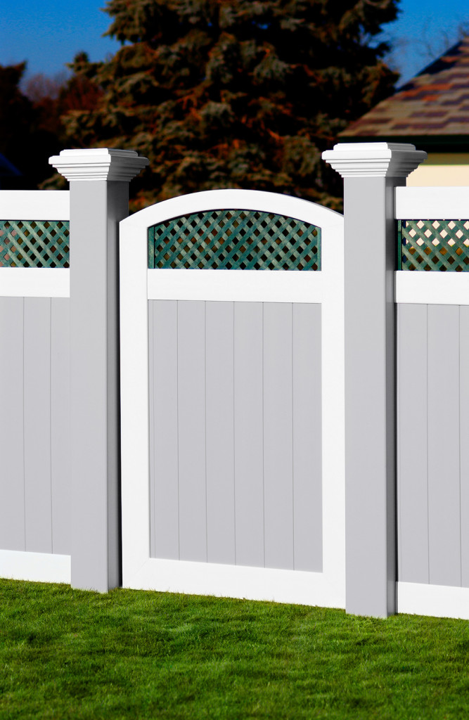 illusions pvc vinyl 8x8 inch posts with gray white green gate