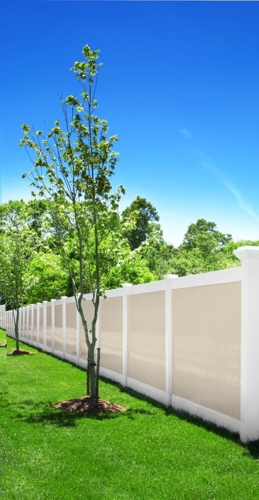 illusions pvc vinyl beige and white privacy fence panels