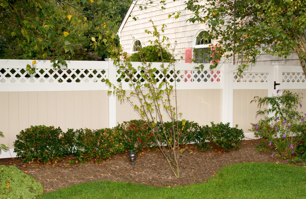 illusions pvc vinyl beige and white privacy fence sections