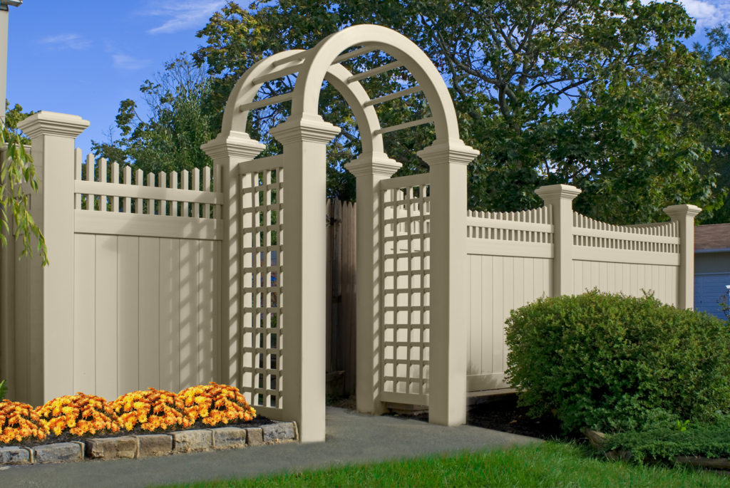 illusions pvc vinyl beige privacy with custom arbor
