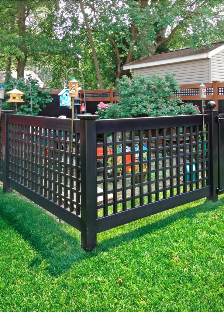 illusions pvc vinyl black lattice style fencing panels