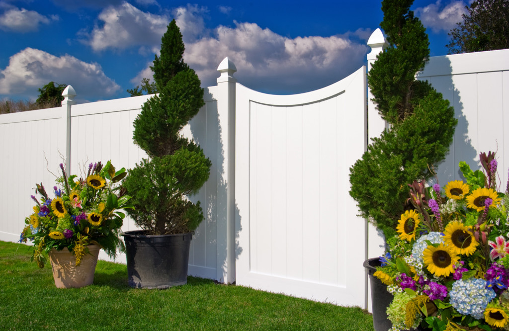 illusions pvc vinyl curved white privacy fence gate