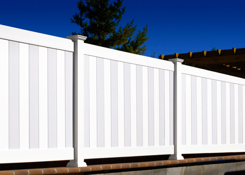 illusions pvc vinyl gray and white fence panels