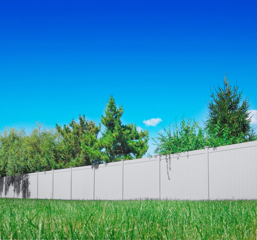 illusions pvc vinyl gray privacy fence panels