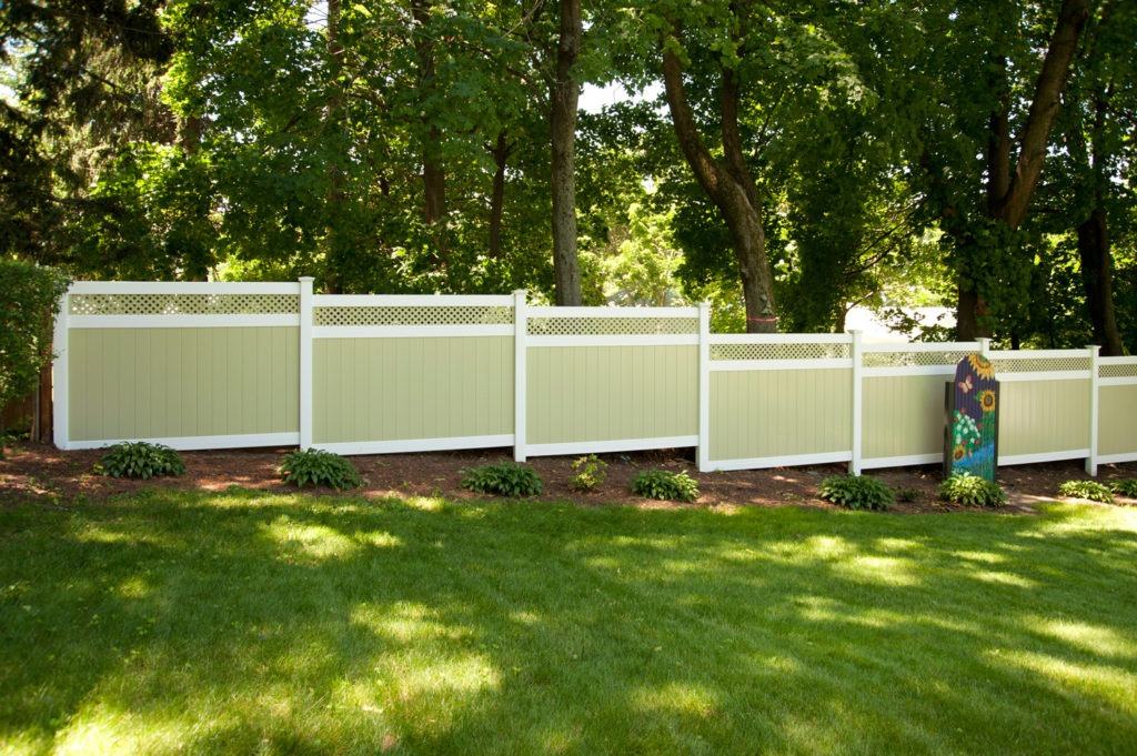 illusions pvc vinyl light green and white privacy fence
