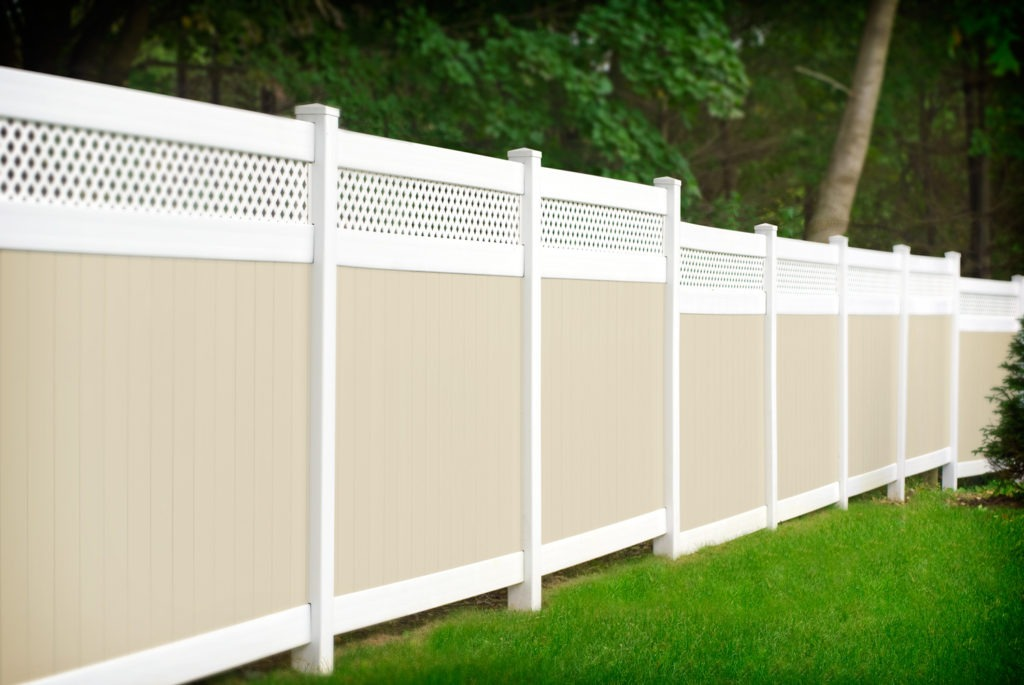 illusions pvc vinyl privacy beige and white fencing panels