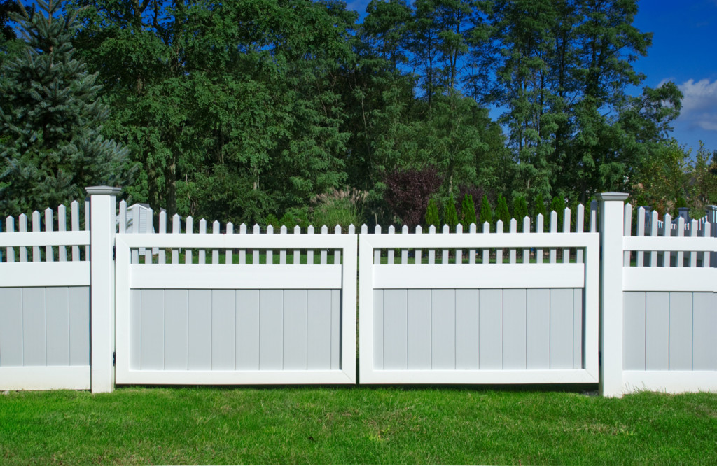 illusions pvc vinyl privacy fence gate sections gray and white