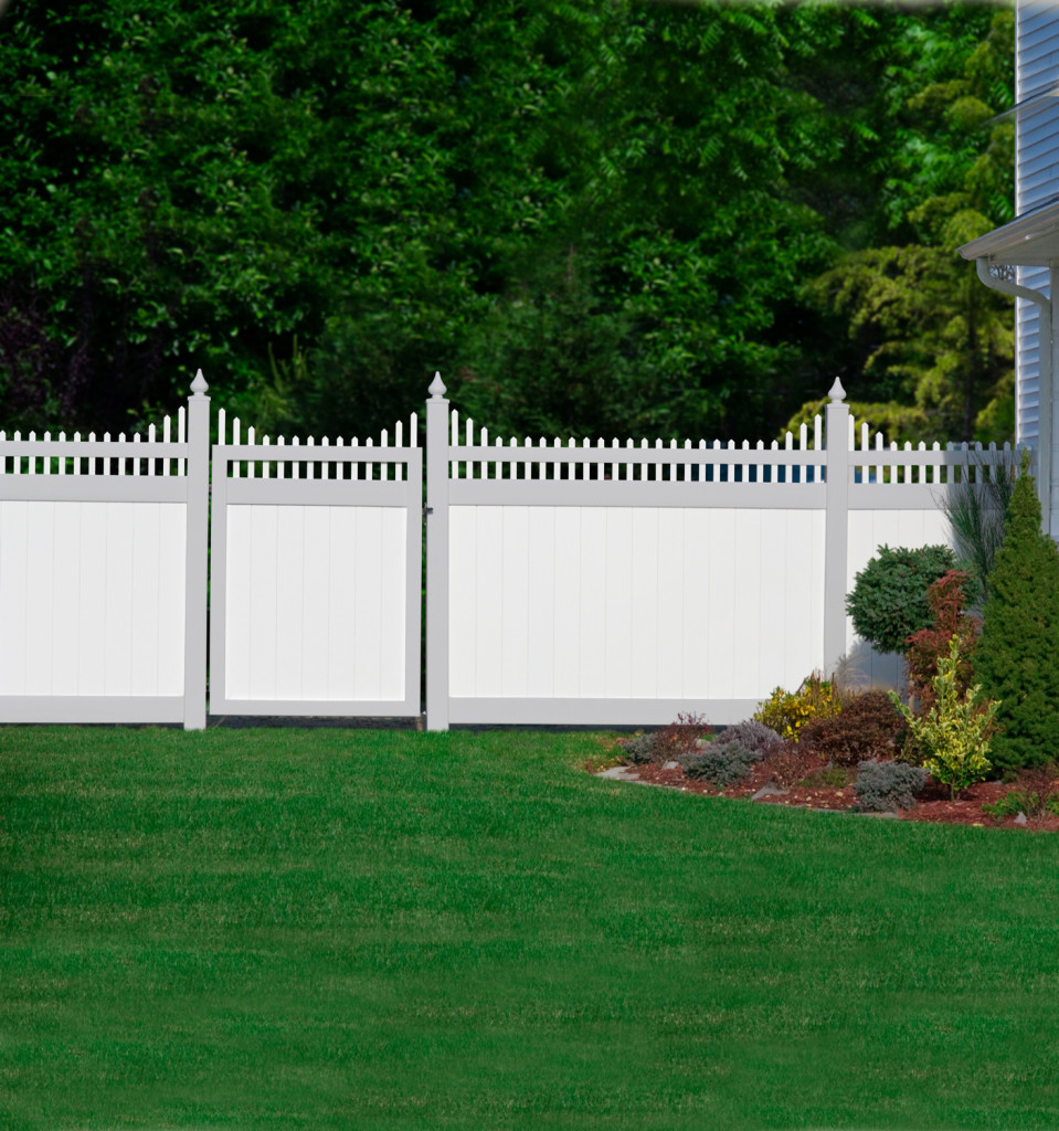 illusions pvc vinyl privacy fence gray and white sections