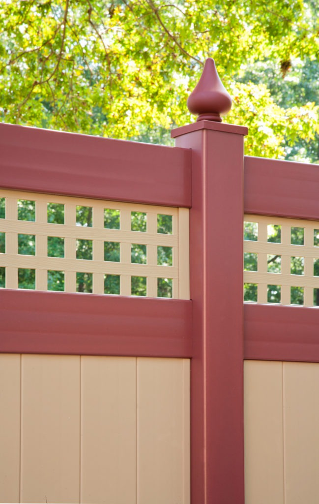 illusions pvc vinyl privacy fence in red and tan sections