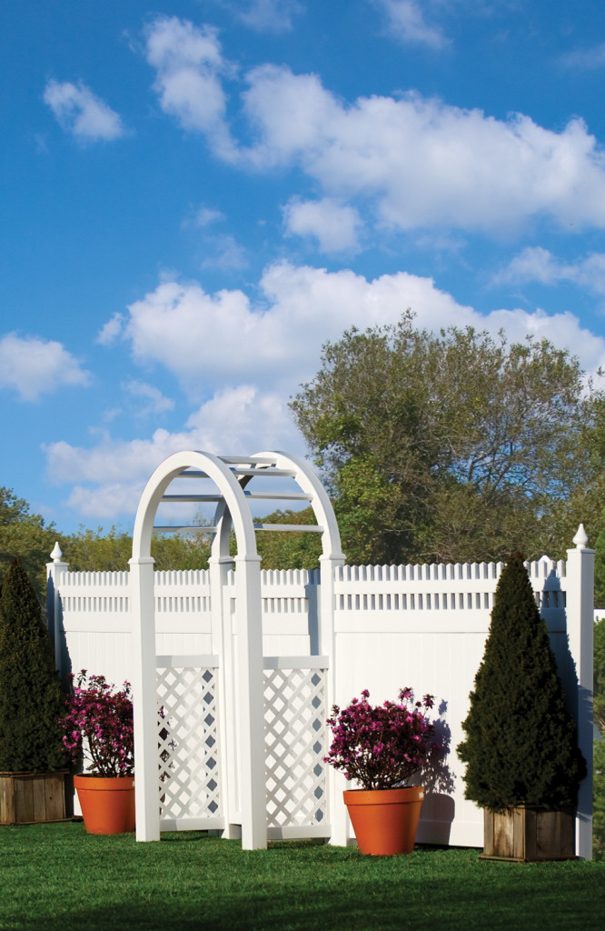 illusions pvc vinyl privacy fence white and arbor
