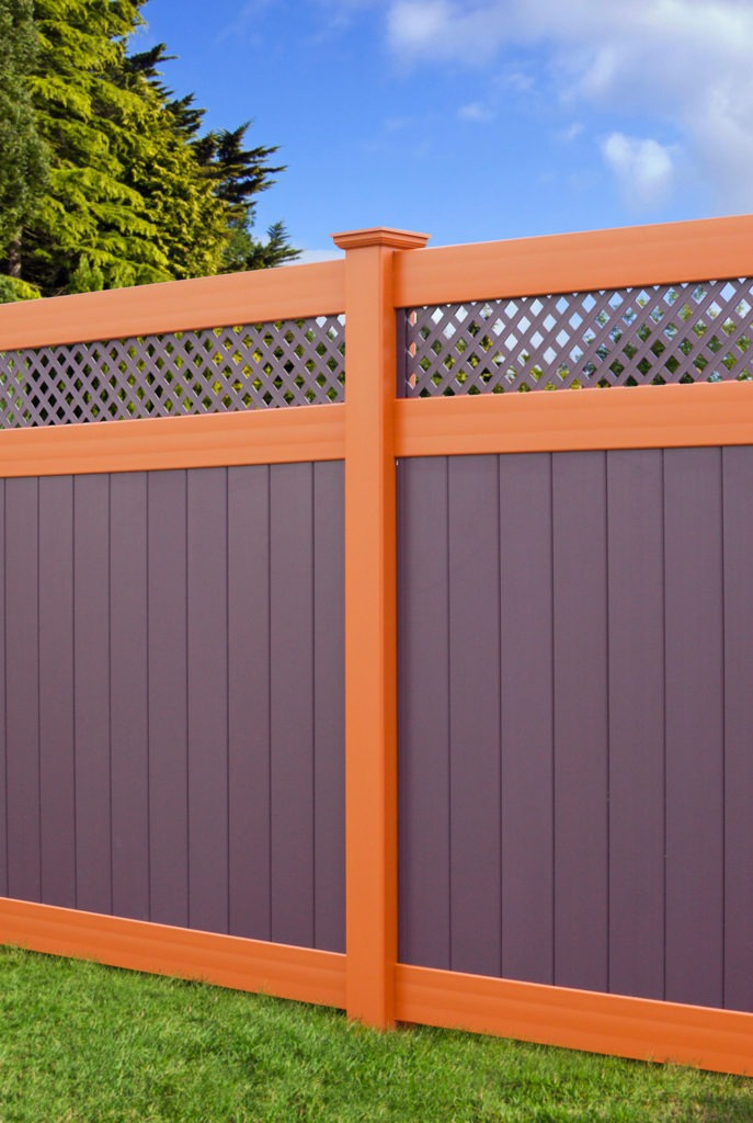 illusions pvc vinyl purple orange fence panels