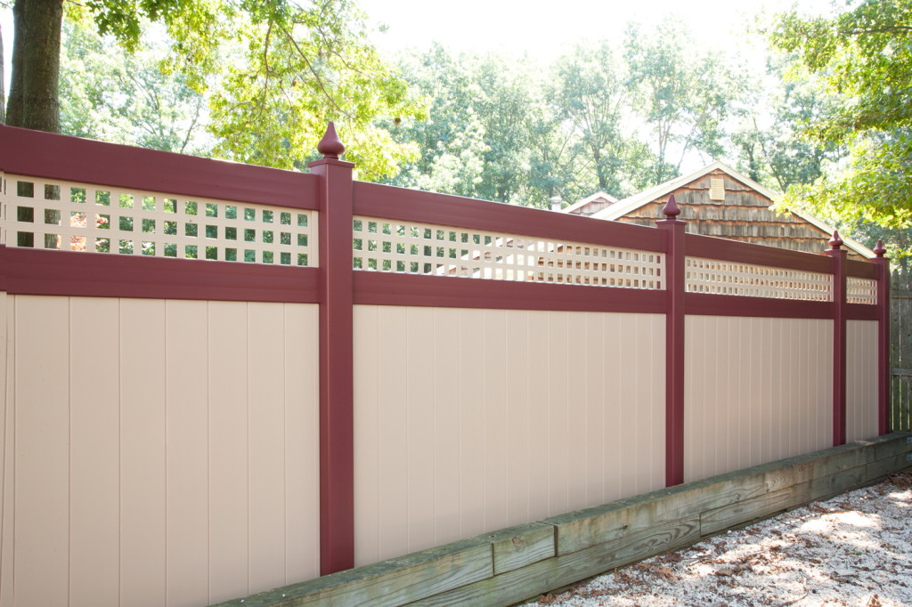 illusions pvc vinyl red and beige privacy fence sections