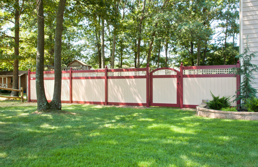 illusions pvc vinyl red and tan privacy fencing panels