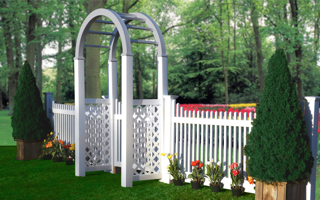 illusions pvc vinyl white and gray picket fence and arbor
