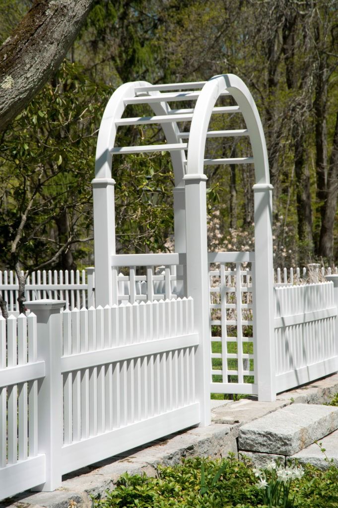 illusions pvc vinyl white picket fence arbor