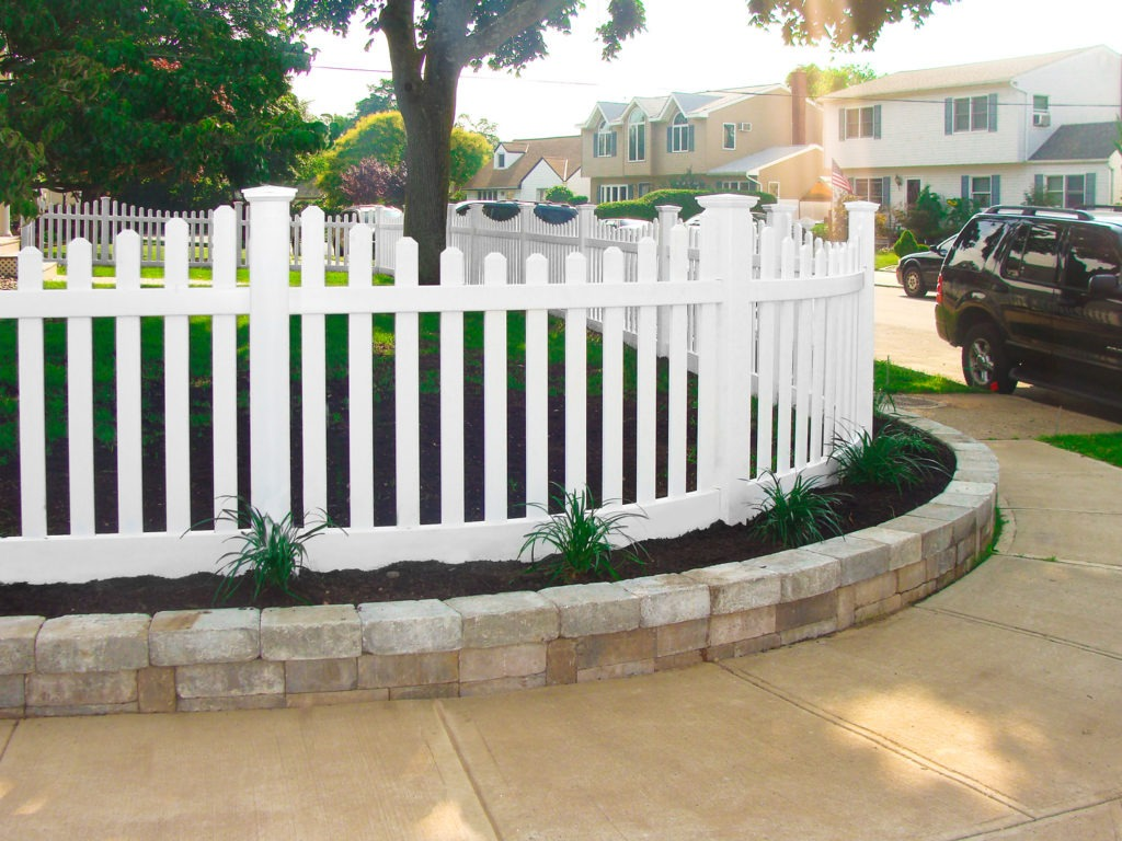 illusions pvc vinyl white picket fence curved panels