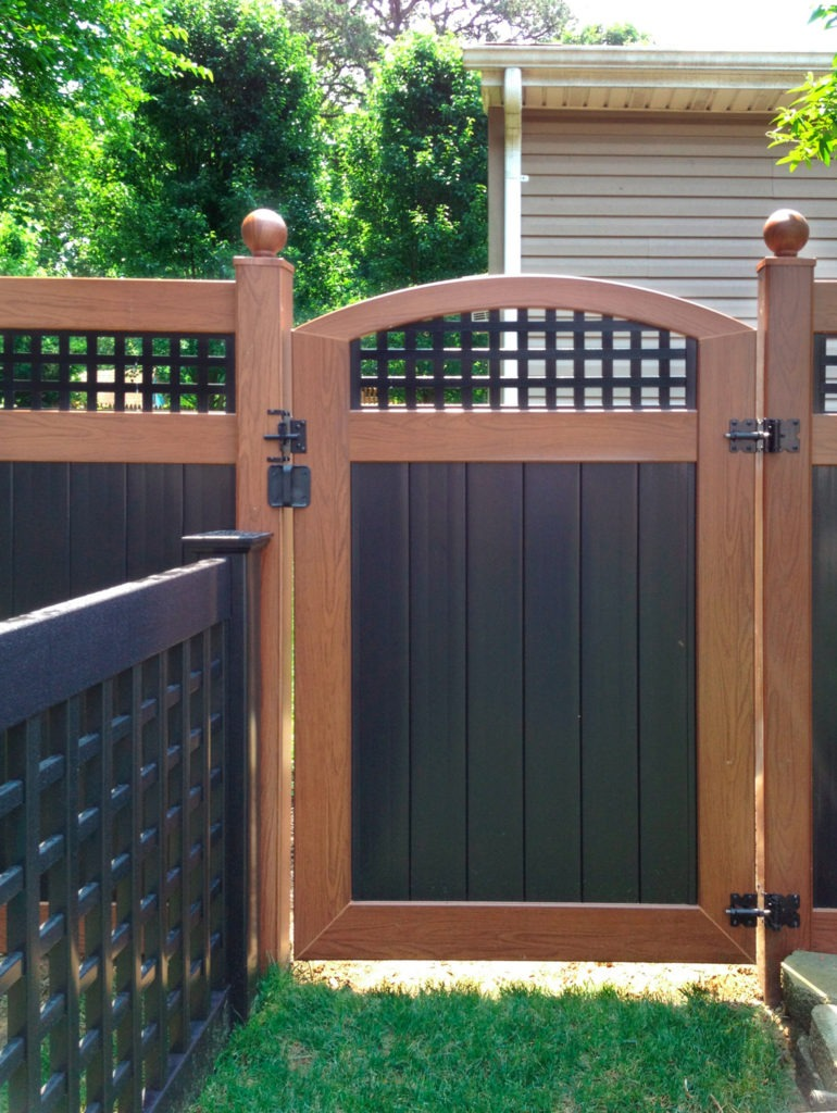 illusions pvc vinyl wood grain and black fence gate ball caps