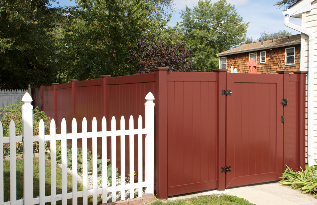 illusions red pvc vinyl privacy fence and gate