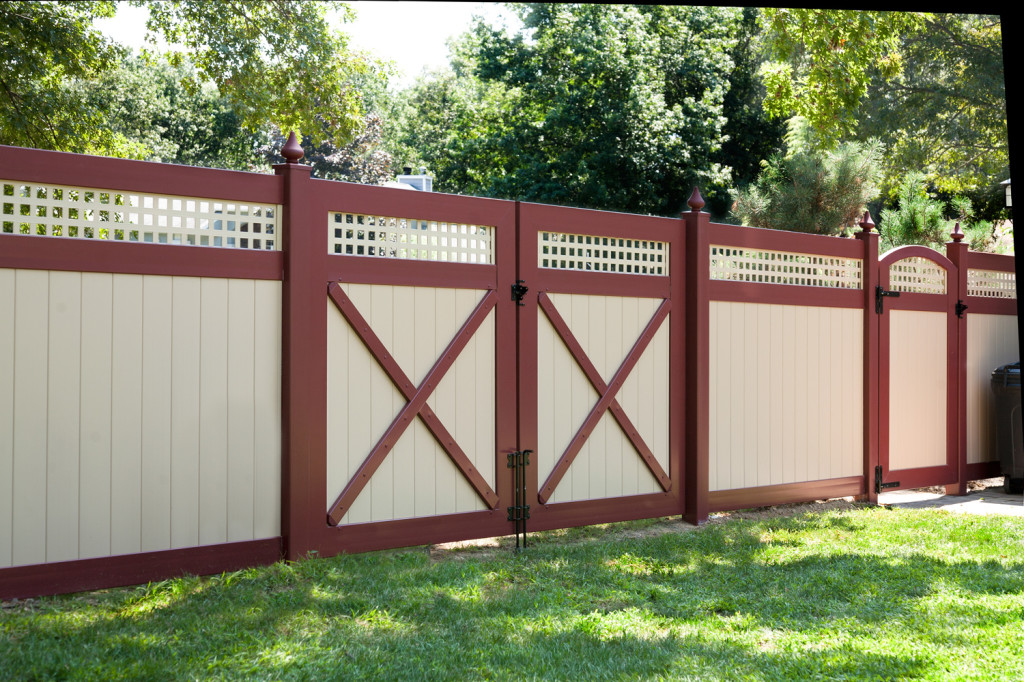 illusions tan and red pvc vinyl matte finish fence panels