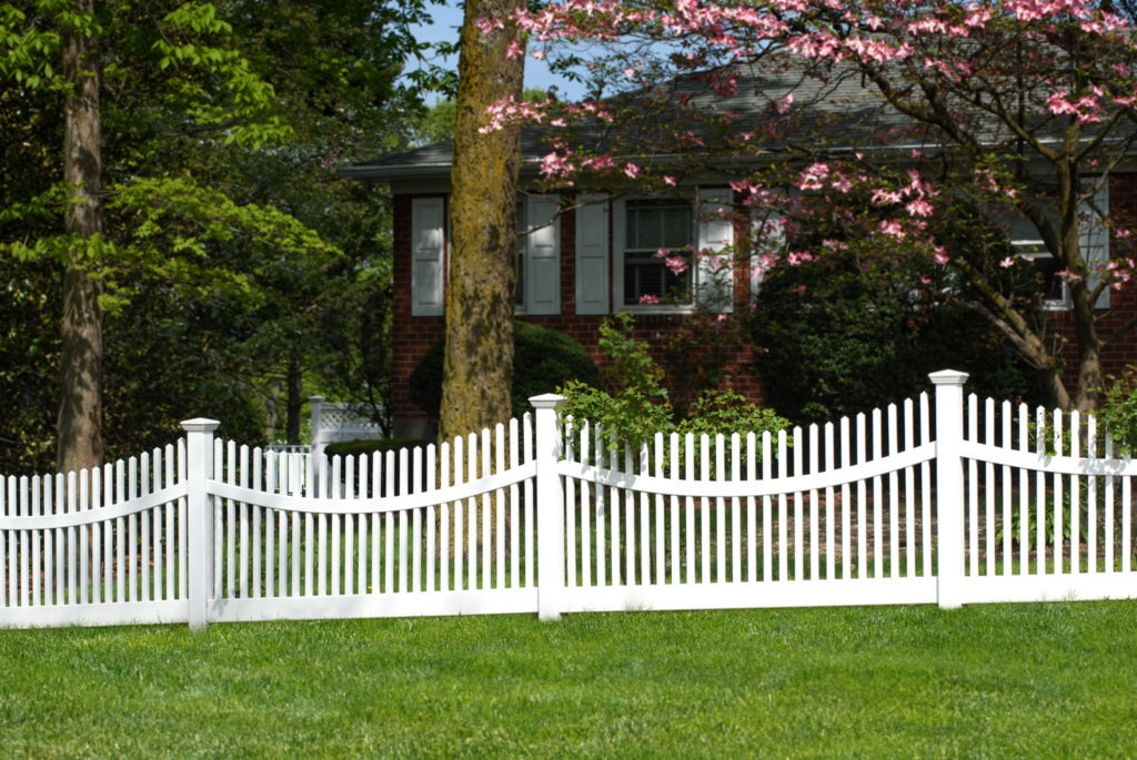 illusions vinyl pvc curved white picket fence sections
