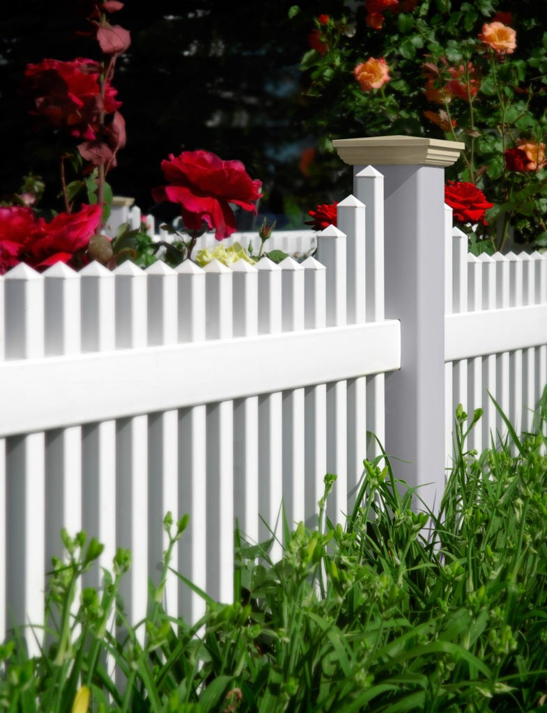 illusions vinyl pvc picket fence with roses white gray beige