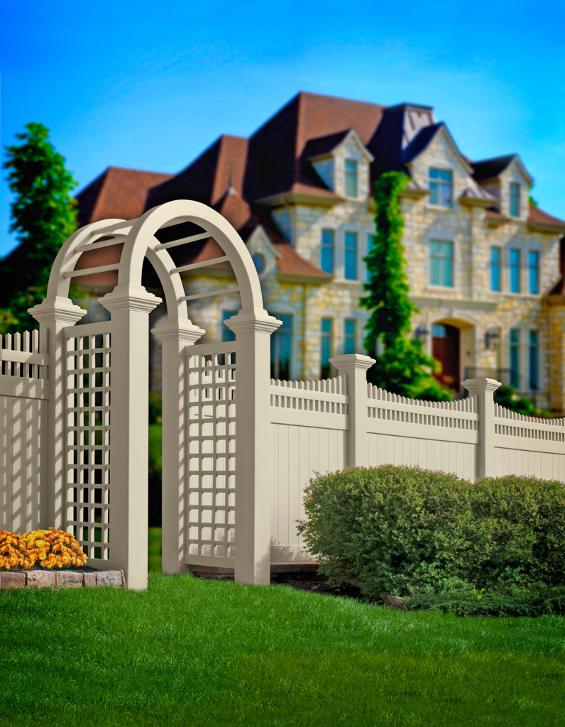 illusions vinyl pvc privacy fence and arbor beige