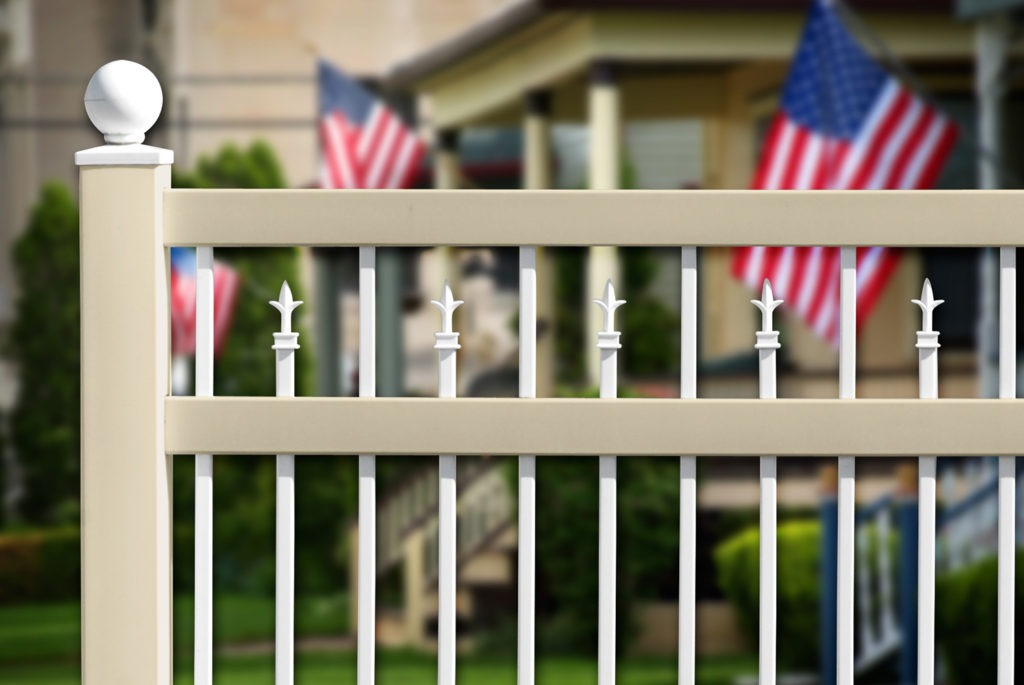 illusions vinyl pvc thin picket fence with boy scout caps