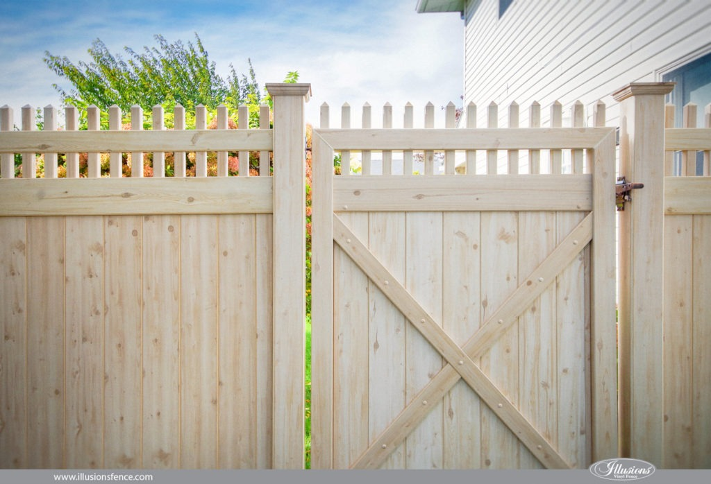 illusions vinyl wood grain cedar pvc fence