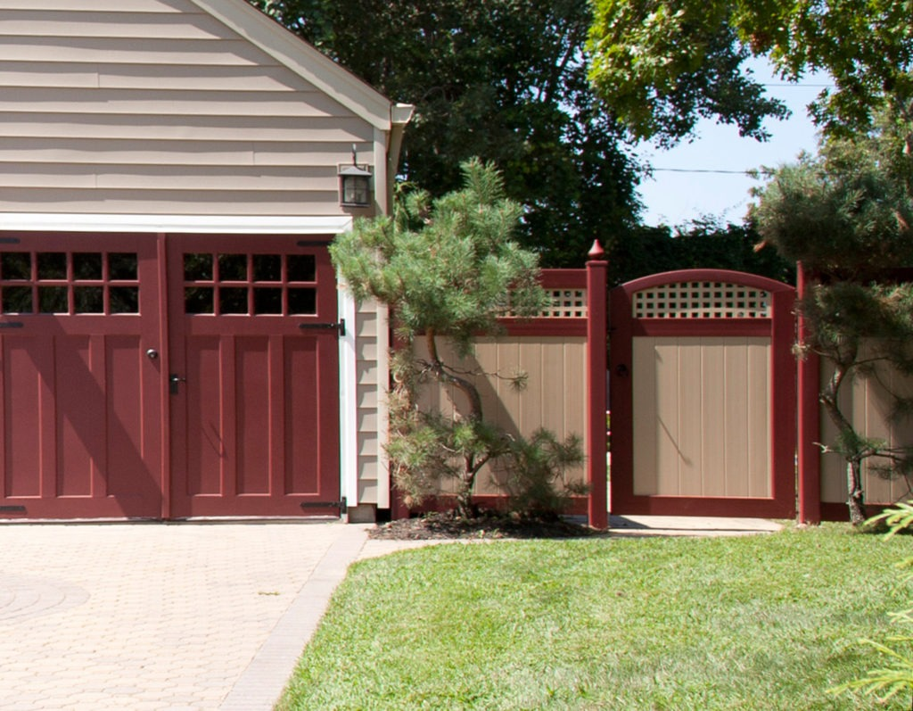 illusons vinyl pvc beige and red privacy fencing panels