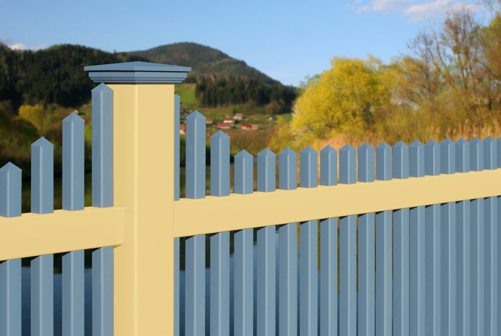 illusons yellow and blue pvc vinyl picket fencing panels