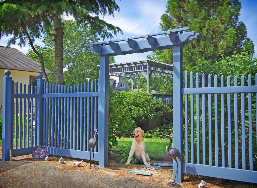 light blue pvc vinyl picket pergola illusions