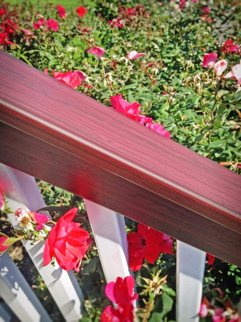 mahogany and white vinyl pvc railing