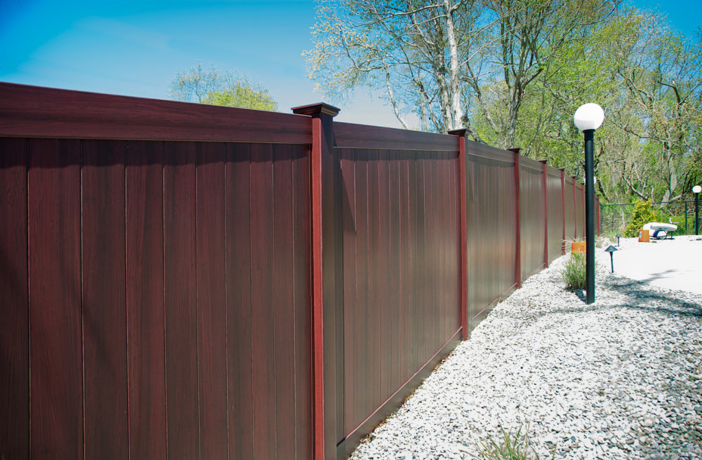 mahogany vinyl pvc illusions privacy fence panels